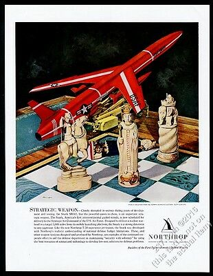 1957 USAF Snark missile & 12th Century chess pieces Northrop vintage print ad