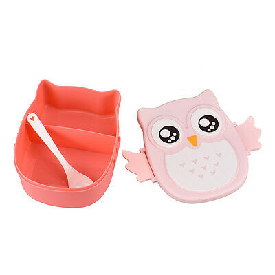Owl Lunch Box Food Container Storage Box Portable Bento Box Pink #