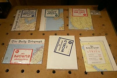 Lot of 6 vintage The Daily Telegraph maps Priced 3/6 c1960's made by Geographia