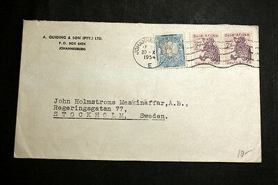 South-Afirca 1954 cover to Sweden M-036