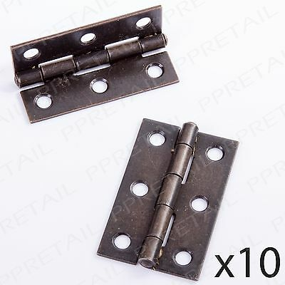 "Antique Brass 50mm/2"" Butt Hinges -10 PAIRS- Cupboard Cabinet Door (Pack Of 20)"