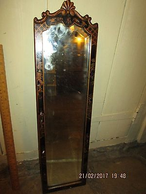 Antique Japanese inspired Wall mirror with raised Papier Mache border .Gold /Blk