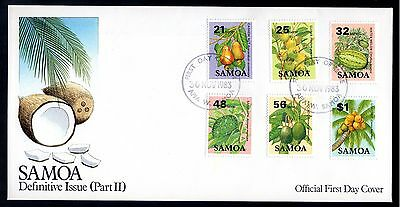 Samoa 1983 FDC Definitive Issue Fruits - Mid Values 21s, 25s, 32s, 48s, 56s, $1