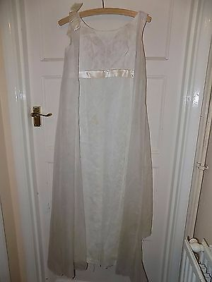 1950S Vintage White Lace Grecian Over Shoulder Floaty Cape Wedding Dress 1960S