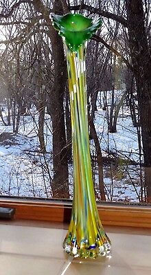 """Vintage Jack In The Pulpit Stretch Art Glass Vase Green Multi-Color 16"""" Tall"""