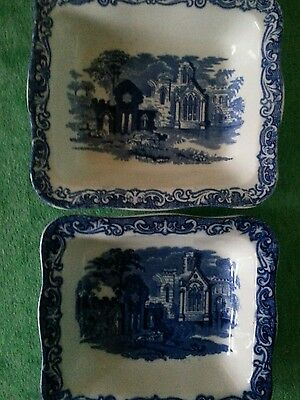 Vintage Two Blue And White Ceramic Shredded Wheat Breakfast Dishes~Geo. Jones~