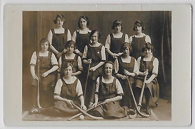 SOCIAL HISTORY - SPORT - YOUNG LADIES HOCKEY SQUAD - long pinafore dresses