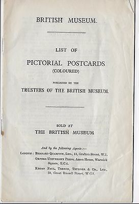 LIST OF PICTORIAL POSTCARDS [COLOURED] sold at BRITISH MUSEUM 1932  C & B series