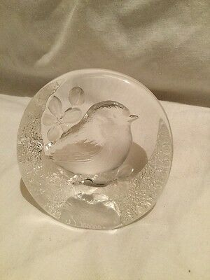 Swedish Glass Robin Paperweight