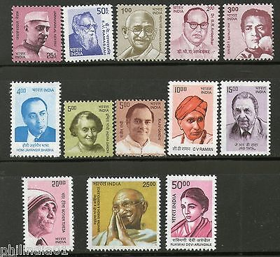 India 2008-9 10th Def. Series Builders of Modern India Gandhi Sc 2276-87 MNH