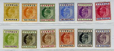 CYPRUS-1904-10 5pa to 45pi mounted mint set Watermark Multi Crown CA Sg 60-71
