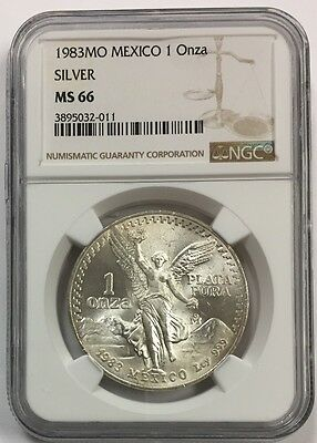 1983Mo  Mexico 1 Onza ~ 1 Oz Silver Libertad Ms 66 Ngc Certified