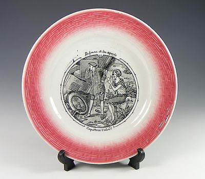 MOULIN DES LOUPS FRENCH POTTERY WOMEN'S SPORTS PLATE -No 11 MOTORING