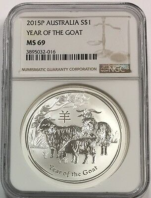 2015P Australia Year Of The Goat 1 Oz 999 Silver Ms69 Ngc
