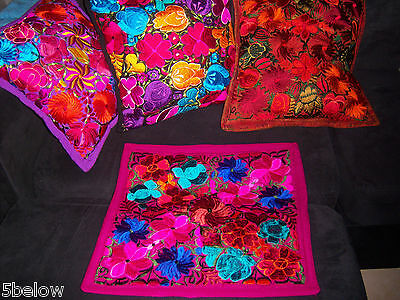 Mexican Satin Embroidered Fuschia Wine Floral Zipper Pillow Cover- New-Gorgeous