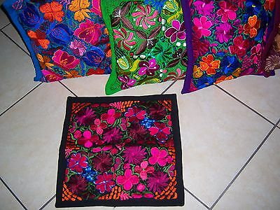 Mexican Satin Embroidered Black Floral Zippered Pillow Cover - New-Gorgeous