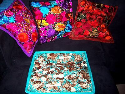 Mexican Satin Embroidered Handmade Mint Green & Taupe Floral Pillow Cover - New
