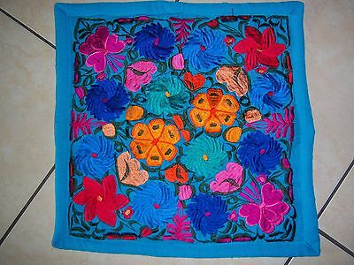 Mexican Satin Embroidered Blue Turq Floral Zipper Pillow Cover- New-Gorgeous
