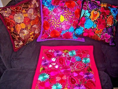 Mexican Satin Embroidered Fuschia  Pink Floral Zipper Pillow Cover - New