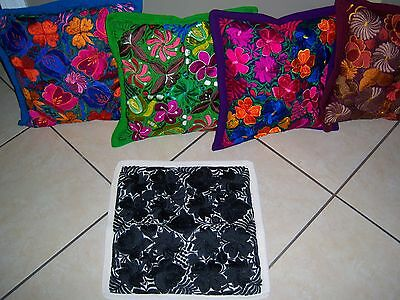 Mexican Satin Embroidered Black/white Floral Zipper Pillow Cover- New-Gorgeous