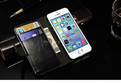 Black Soft Stand Flip Front Back Cover Case Wallet Card for IPhone 5 5S SE