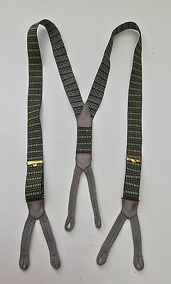 Vintage Green, Black & Grey Elasticated Braces with Fabric Button Loops