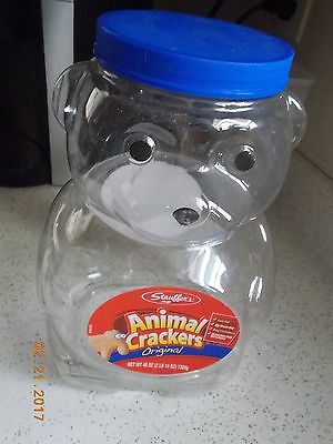 Empty Stauffer's Animal Crackers Plastic Bear, 46 Ounce with Lid