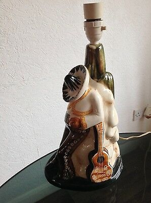 VINTAGE JERSEY POTTERY MEXICAN LAMP 1960s RETRO