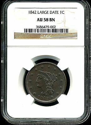 1842 Large Date 1C Braided Hair Large Cent AU58 BN NGC 3686479-002