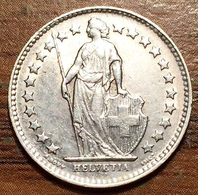 1945 B Silver Switzerland 1/2 Franc Helevtia Coin