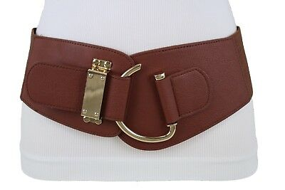 Women Waist Hip Fashion Gold Metal Hook Buckle Brown Stretch Belt Plus L XL XXL