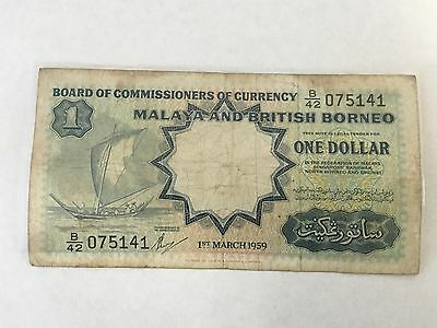 1959 1 One Dollar Malaya And British Borneo Currency Banknote Note Bill Cash