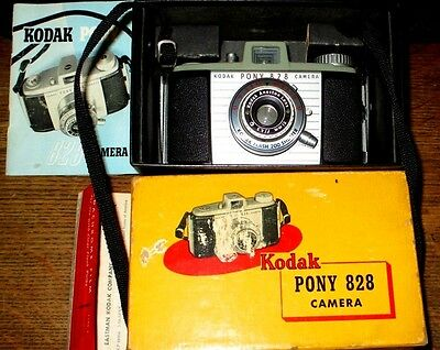 KODAK PONY 828 Vintage CAMERA WITH MANUAL AND ORIGINAL BOX ~ 1950s VERY CLEAN