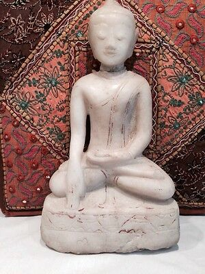 Antique Carved Marble  Buddha 36Cm Tall