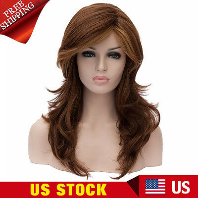 Womens Brown Curly Long Wavy Synthetic Cosplay Full Wigs Party Costume Hair New