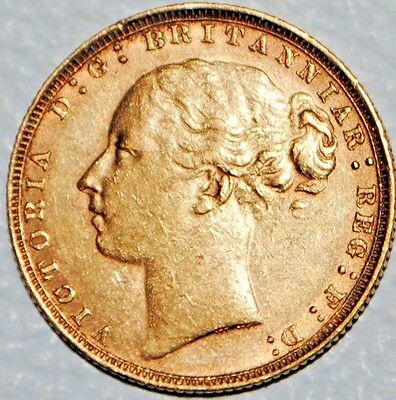 1884 Gold Sovereign Great Britain Sov Coin UK