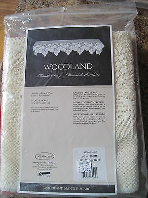 Heritage Lace Woodland 20-Inch by 88-Inch Mantle Scarf ECRU COLOR PINECONES NEW