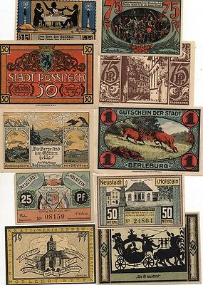 German 'mixed lot' of 10 different German notgeld banknotes - all in 'au-unc'.