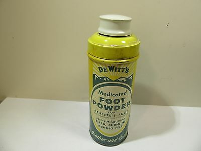 Vintage Tin Dewitts Foot Powder For Athletes