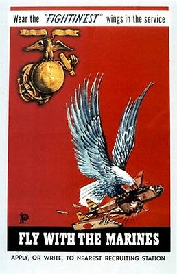 "Vintage U.S.M.C.  ""Fly with the Marines""  Poster WW 2"