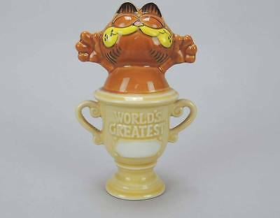Vintage Enesco Garfield Ceramic Figure Cat Worlds Greatest Trophy