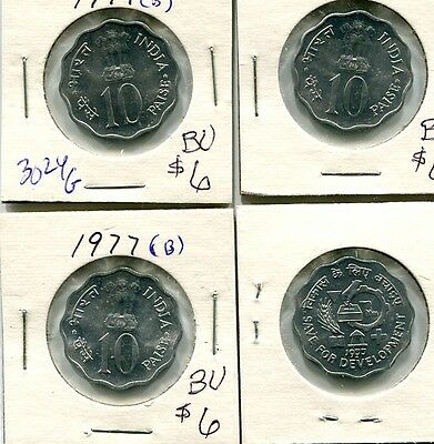 India 1977 10 Paise 4 Coin Lot Bu 3024G