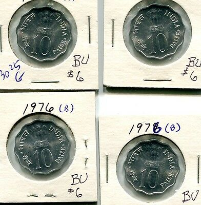 India 1976 10 Paise 4 Coin Lot Bu 3025G