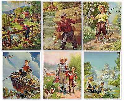 Lot 6 Vintage Calendar Print 1940S Original Fishing Children Illustrations Dogs