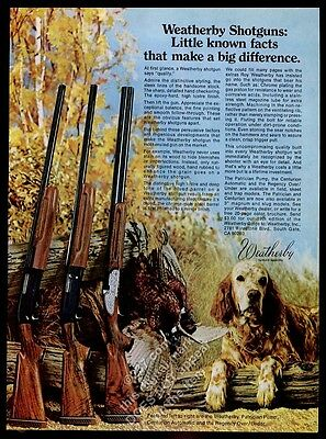 1977 English Setter photo Weatherby Patrician Centurian Regency shotgun print ad