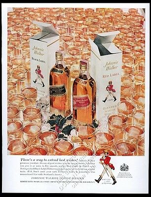 1958 Johnnie Walker Scotch whisky red black bottle photo vintage print ad