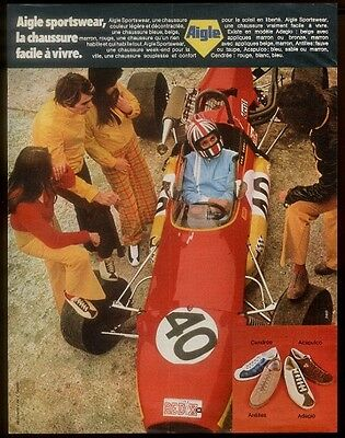 1972 Aigle shoes 4 styles & racing car photo French print ad