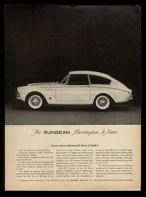 1962 Sunbeam Harrington le Mans car photo vintage print ad