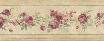 Wallpaper Border Mini Victorian Watercolor Rose Floral Tea Stained Background