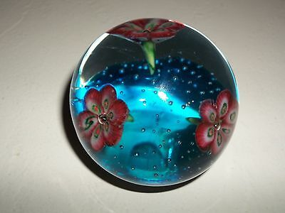 Vintage Art Glass Paperweight, 3 Flowers